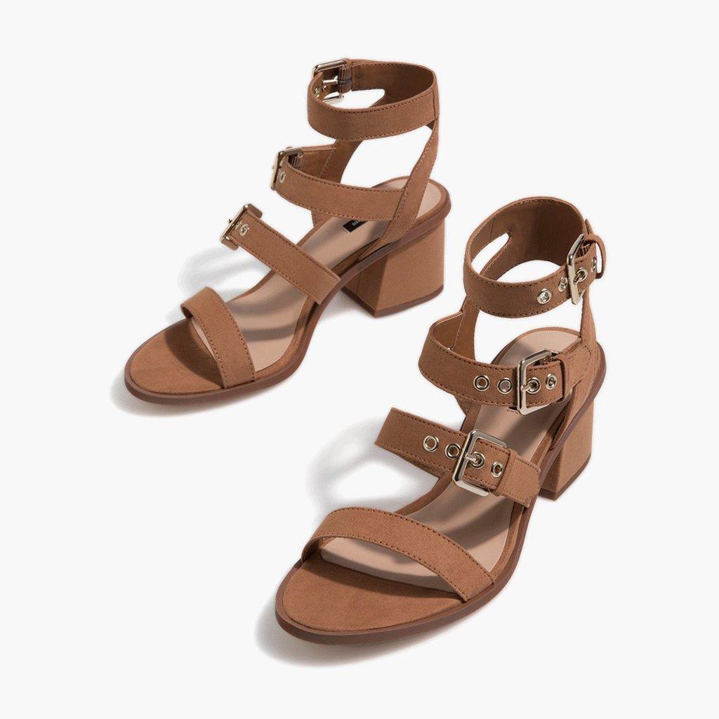 WANGXIAOLIN Braun Schnalle 4,5 High Heel Sandale Heel Höhe: 4,5 Schnalle Cm ( größe : 41 ) - cdd483