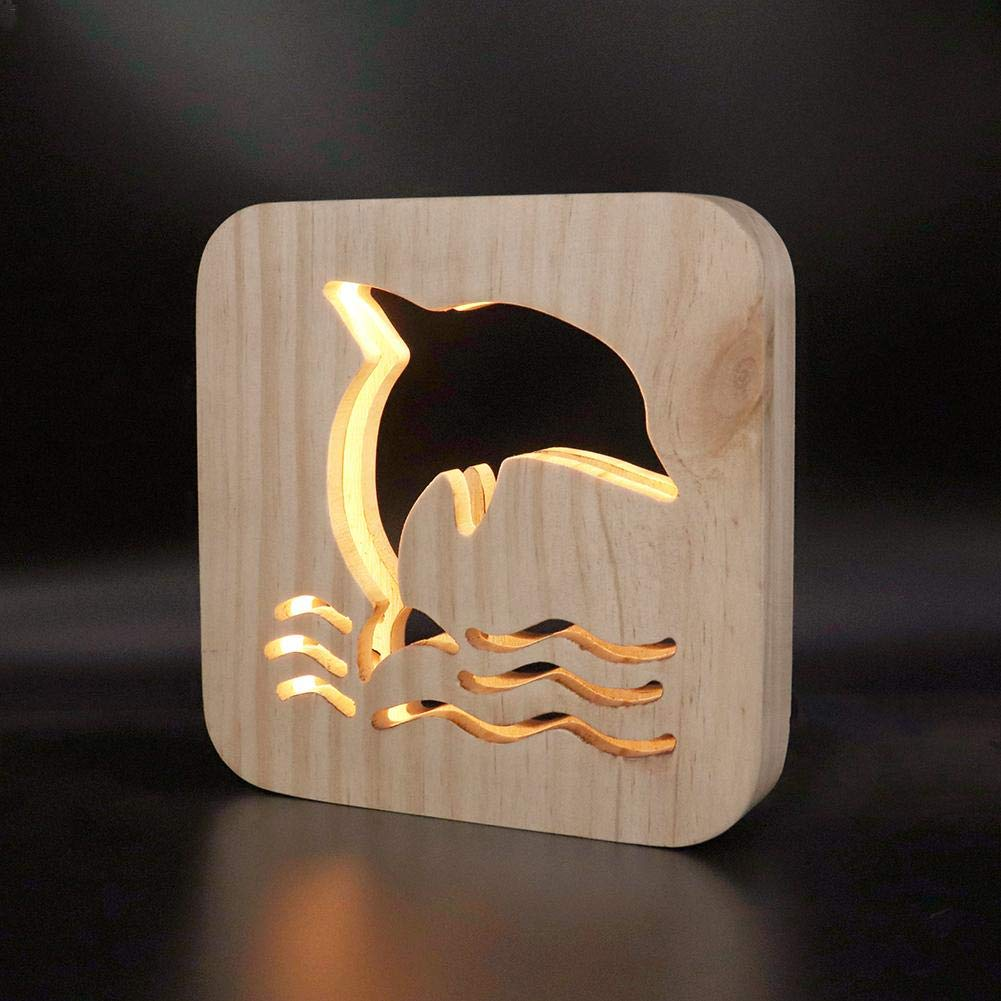 Fuente de alimentaci/ón USB raninnao Luz Nocturna Animal USB de Madera Luces Decorativas Madera Cachorro//Elefante//Ballena//Caballito de mar//Mariposa Cozy