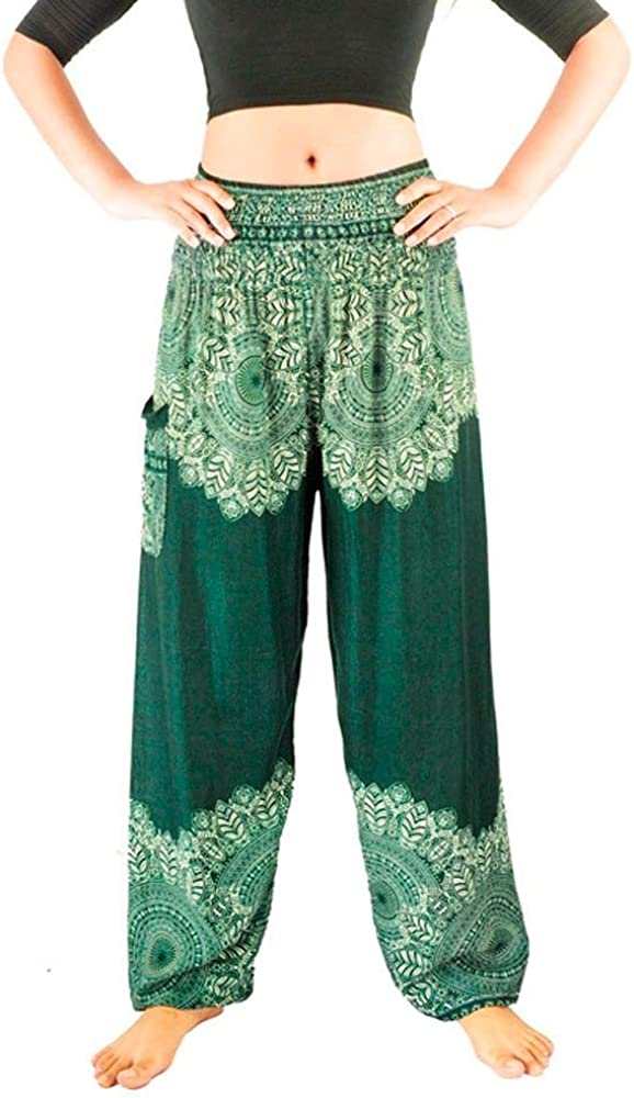 Men Women Sport Yoga Pants High Waisted Printed Cuekondy Boho Hippy Loose Stretch Thai Harem Trousers Workout Leggings