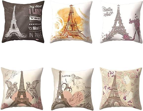VLUNT 6 Pack Fundas de Cojines para Sofa, Estampados de Torre Eiffel Fundas Cojines Rectangulares 45x45 cm Cushion Cover Modernos: Amazon.es: Hogar