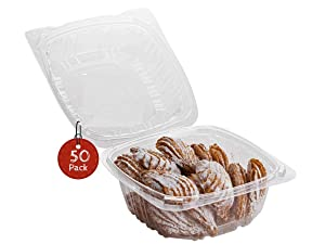 Smygoods Dessert Containers, Disposable Plastic Clamshell Food Containers, Clear Hinged Food Container, 6 x 6 x 3 [50 Pack]