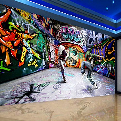 Colomac Wall Mural 3D Abstract Art Hip-Hop Graffiti Mural Suitable for KTV Bar Cafe Clubs Hotel Restaurant Bedroom Sofa TV Background Wallpaper 196.8 Inch x 78.8 Inch