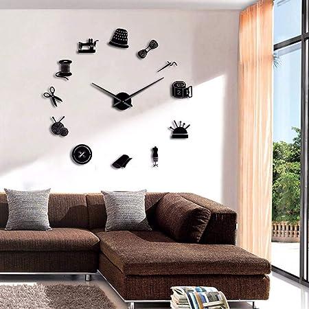 LLLYZZ Tailor Shop DIY Reloj De Pared Gigante Modista Needlecraft ...