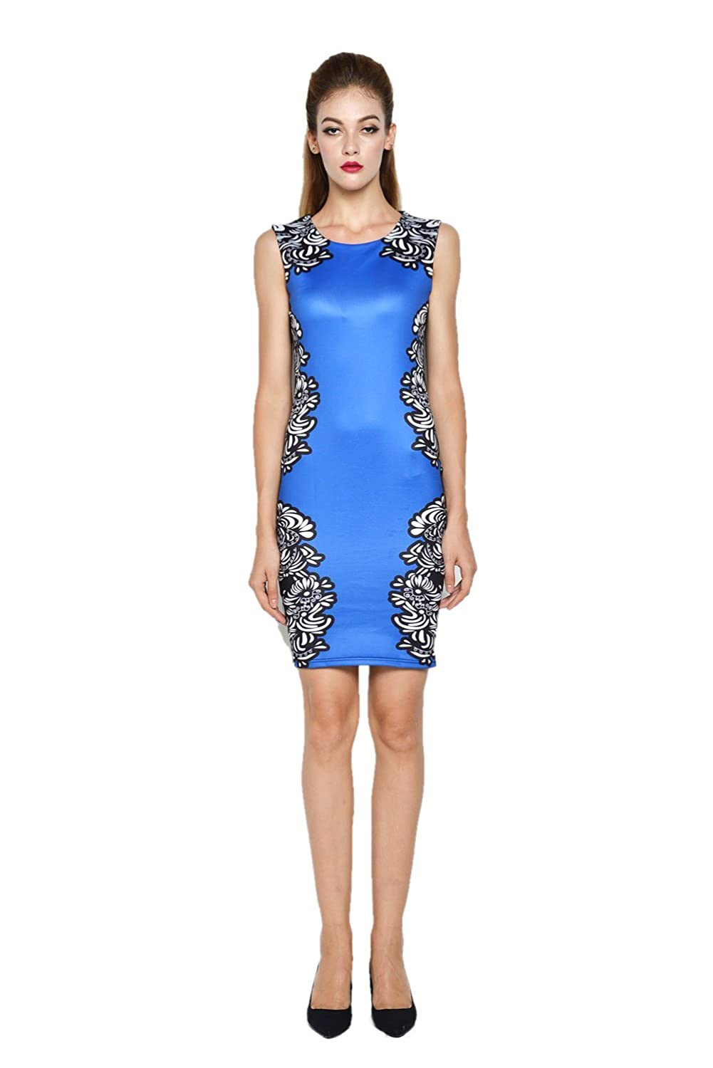 Darshion Women's Summer Vintage Round-Neck Floral Print Bodycon Business Party Dress
