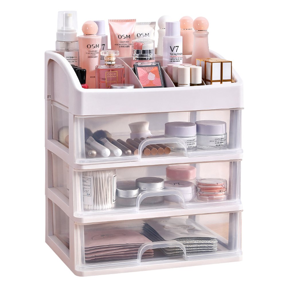 AEVEL Makeup Storage Box Small Size Cosmetic Organizer Multi-layer Clear Drawer for Bathroom Bedroom Dressing Table 28 x 20 x 32 cm