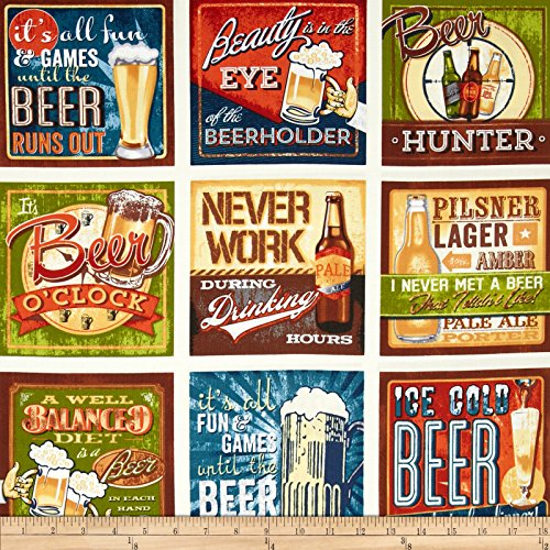 Kaufman Cheers Beer Signs 24in Panel Ivory Fabric By The (Yard Beer)