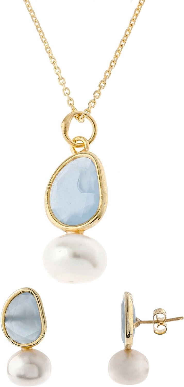 Córdoba Jewels   Conjunto de Gargantilla y Pendientes en Plata de Ley 925 bañada en Oro Rosa. Diseño Dolce Perla Agua Marina Oro