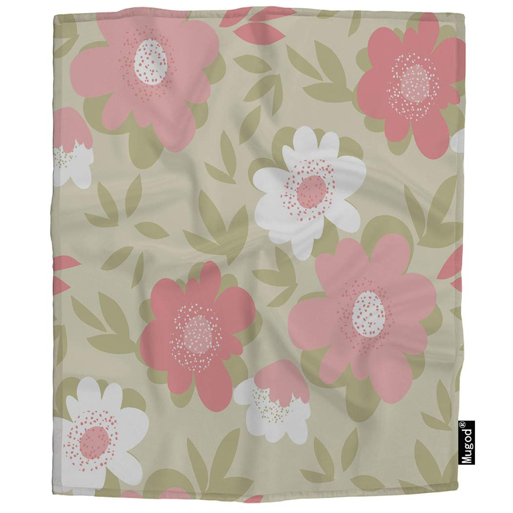 Mugod Flower Throw Blanket Pastel Color Naive Natural Floral Tropical Pink White Green Soft Cozy Fuzzy Warm Flannel Blankets Decorative for Baby Toddler Swaddle Pet Dog Cat 30x40 Inch