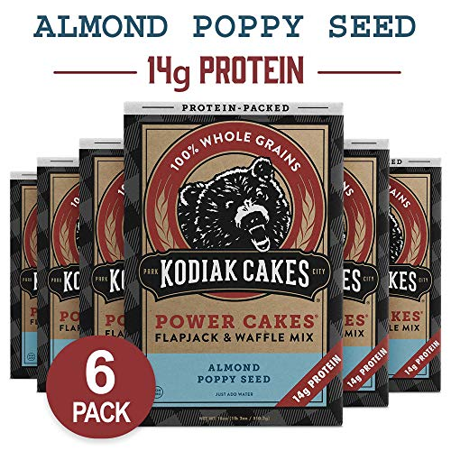 (Kodiak Cakes Power Cakes Protein Pancake Flapjack and Waffle Mix, Almond Poppyseed, 18 Ounce (6)
