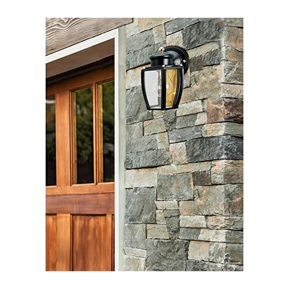 Westinghouse Lighting 6696100 One-Light Exterior Wall Lantern, Matte Black Finish on Steel with Clear Curved Glass Panels - One-light exterior wall lantern Matte black finish on steel; brass hardware; clear curved glass panels 7-3/4 by 6 inches (H x W); extends 6-1/2 inches; 2-1/4 inches high from center of outlet box; back plate is 4-1/2 inches in diameter - patio, outdoor-lights, outdoor-decor - 61cfpJi97nL. SS570  -