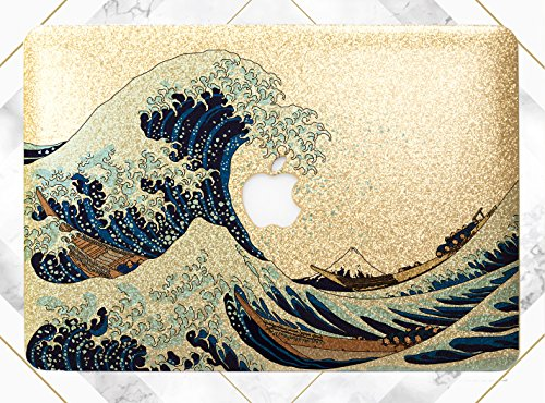 Blue Ocean Wave Gold Rose Gold Hard Plastic Glitter Case Cover For Apple Macbook Air 11 13 Macbook 12 Macbook Pro 13 15 Inch 2016 2017 With Retina Display Touch ()