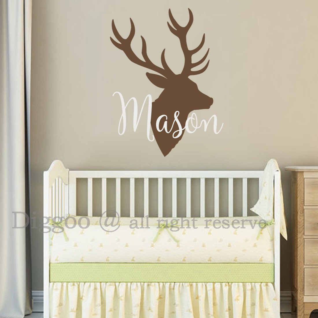 Personalized Deer Antlers Name Wall Decal, Custom Baby Name Hunting Deer Themed Boys Room Wall Decor Sticker, Rustic Nursery Decor (22'' h x 17'' w PLUS FREE WELCOME DOOR DECAL)