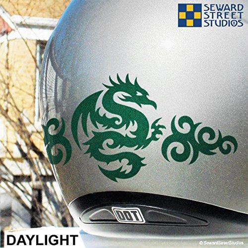Amazoncom Reflective Decals Tribal Dragon Set Reflective - Motorcycle helmet decals graphicsappliedgraphics high visibility reflective motorcycle decals
