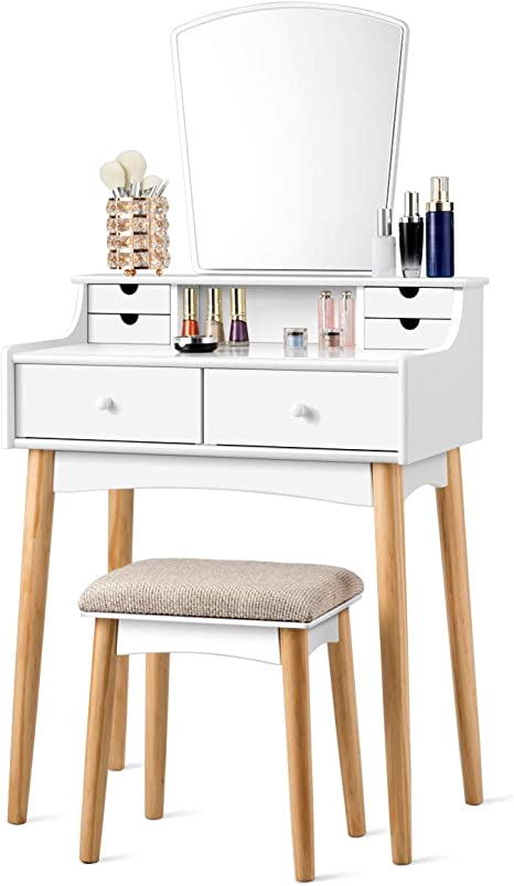 Amazon Com Charmaid Makeup Vanity Set With 6 Drawers Dressing Table With Cushioned Stool And Unique Shape Mirror Modern Dresser For Bedroom Bathroom Chic Wooden Vanity Table Set For Girls Women White Kitchen