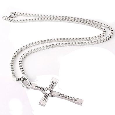 Trixes mens silver effect diamante cross pendant chain necklace trixes mens silver effect diamante cross pendant chain necklace aloadofball Images