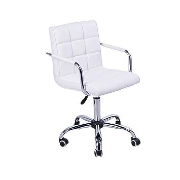 Homcom Chaise De Bureau Fauteuil Manager Pivotant Blanc
