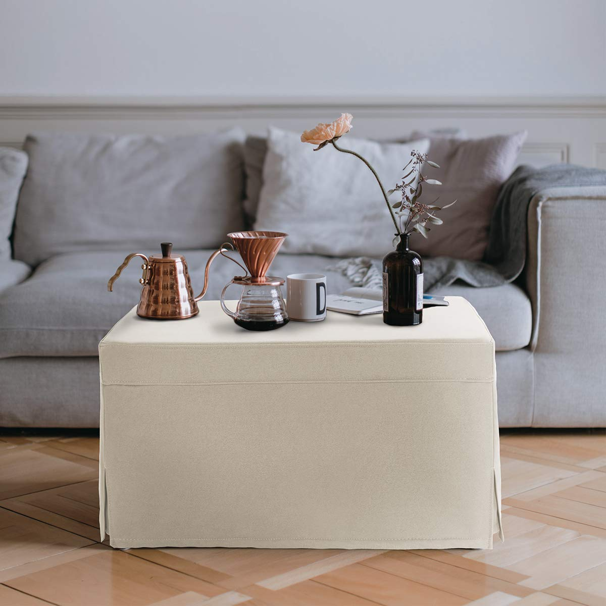 NOVA FURNITURE Ottoman Sleeper Guest Bed, fold-Out Bed 3rd Generation with Technology Cloth Updates, Breathable Leather Micro Fabric, Square Ottoman Coffee Table, Super Easy to Clean, Beige