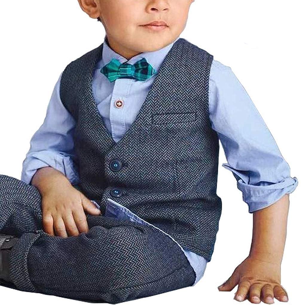 Toddler Little Boys Kids Wedding Ring Bearer Dress Suits Set Formal Wear