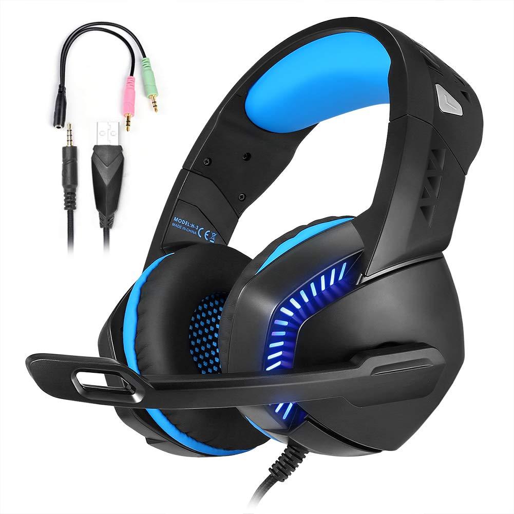 HUOU Cuffie Headset con Microfono Multi-Platform New Xbox One PS4 Gaming Headset PRO Cuffie per pc Auricolari con Controllo del Volume dell'orario LED per i Giocatori del PC (Blu)