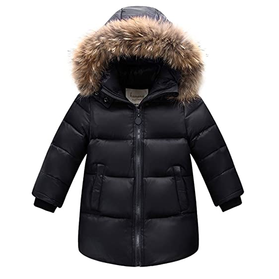 AMUR LEOPARD Girls Puffer Jacket Winter Parka White Duck Down Coat With Big Fur Hood