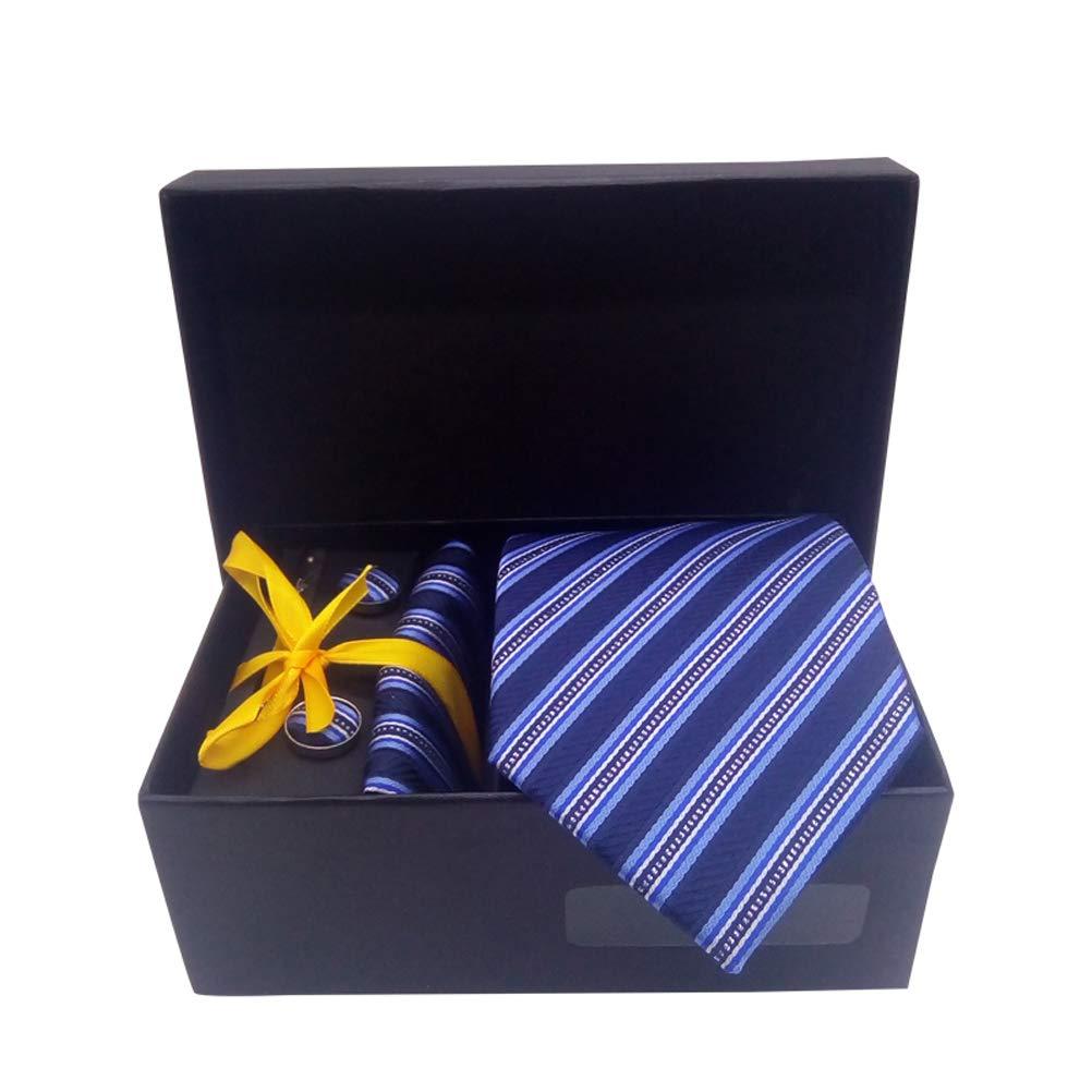 8cm Mens Ties Dot Corbatas Gravata Jacquard Tie Handkerchief Cufflink Clip Set