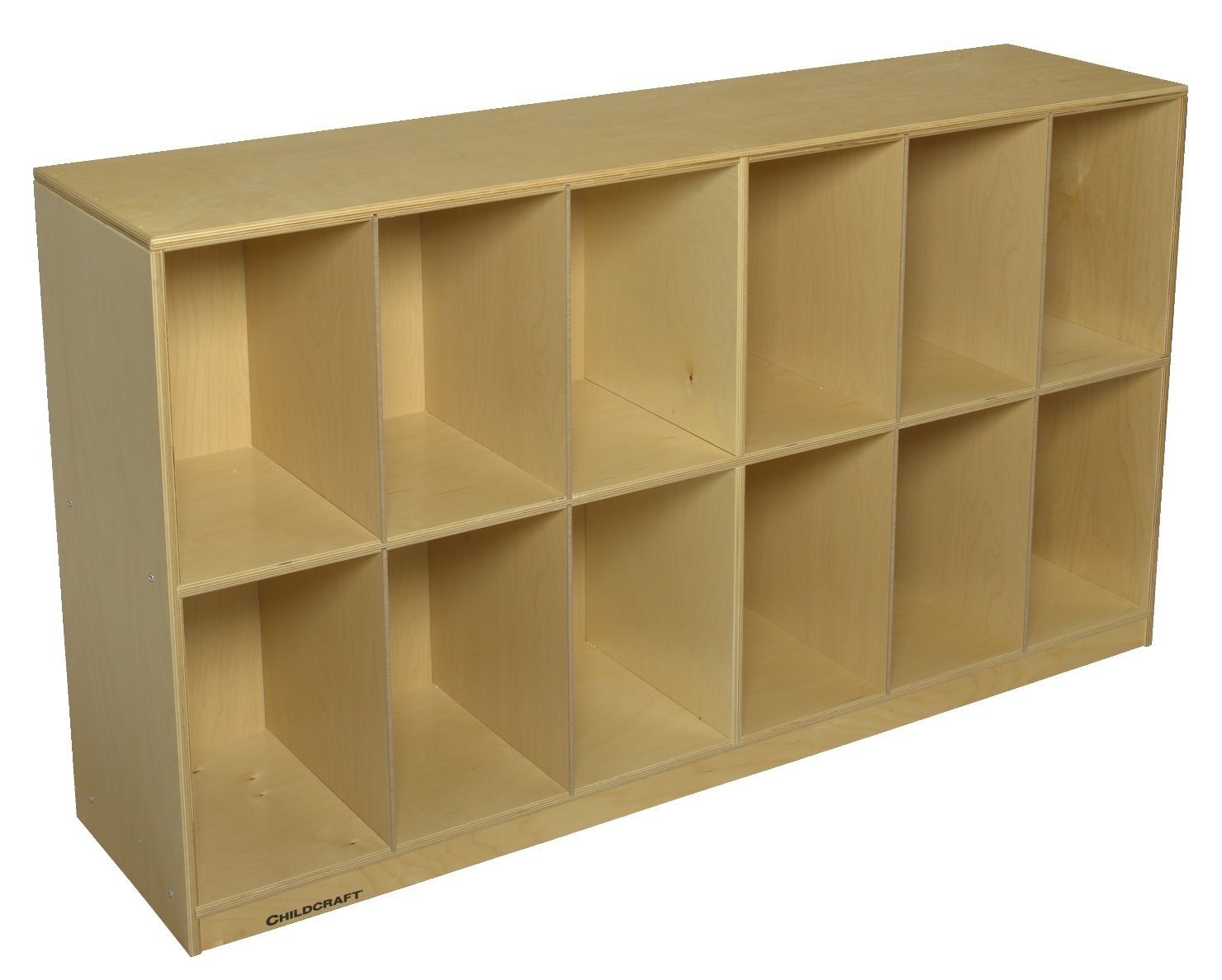 Childcraft 2793 Low Storage Unit, 12 Cubbies, 32.63'' Height, 14.25'' Width, 58.38'' Length, Natural Wood