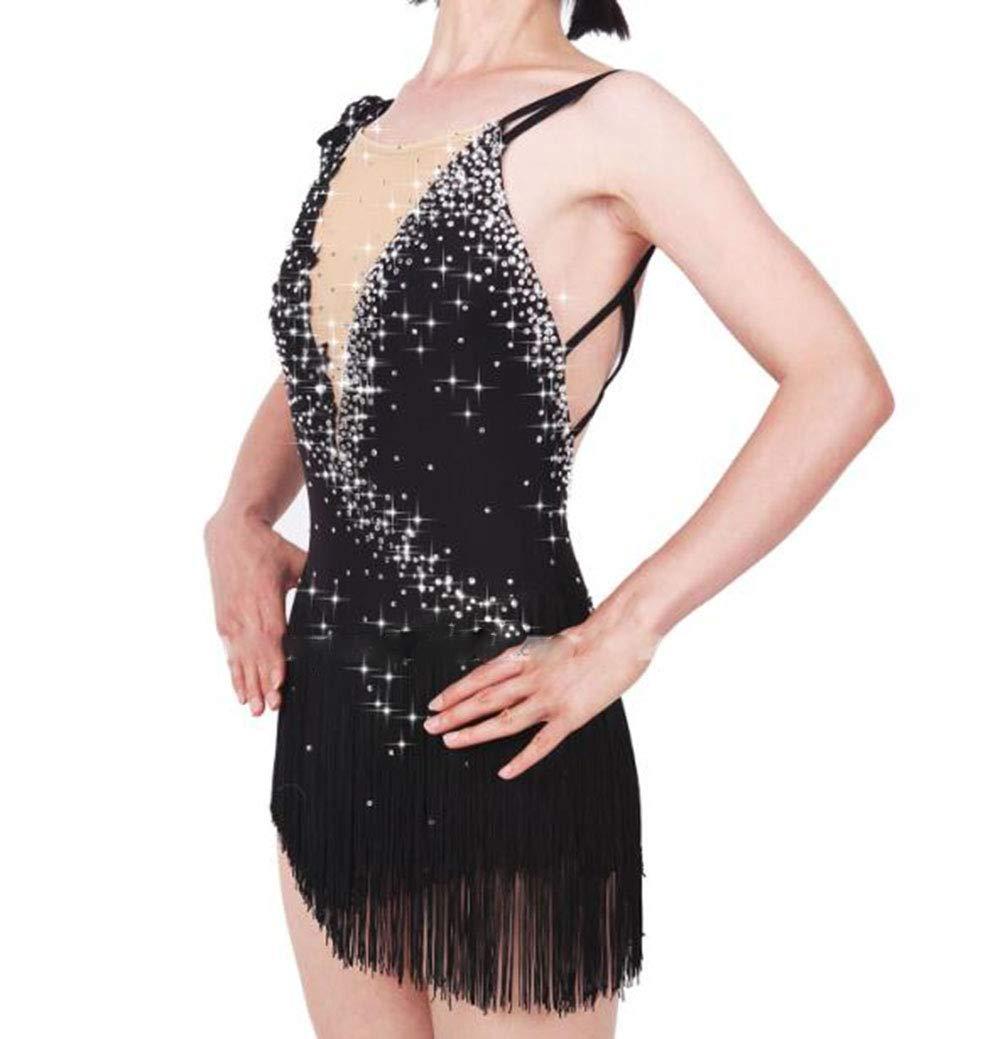 Figure Skating Dress Women's Girls' Ice Skating Dress Black Open Back Asymmetric Hem Spandex, Stretch Yarn High Elasticity Professional Skating Wear Handmade Fashion Sleeveless Ice Skating Winter
