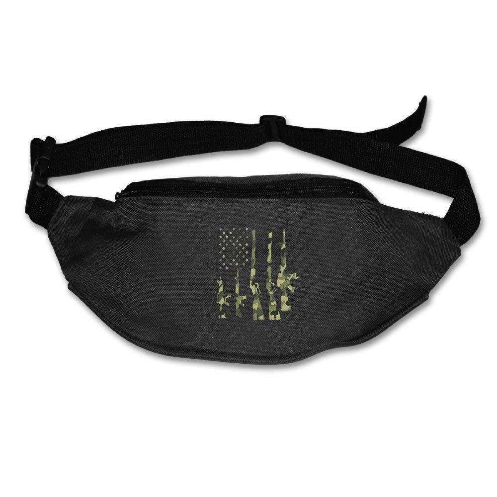 Unisex Camo American Flag Fanny Pack Waist Packs Phone Holder Adjustable Running Belt For Hiking Gym