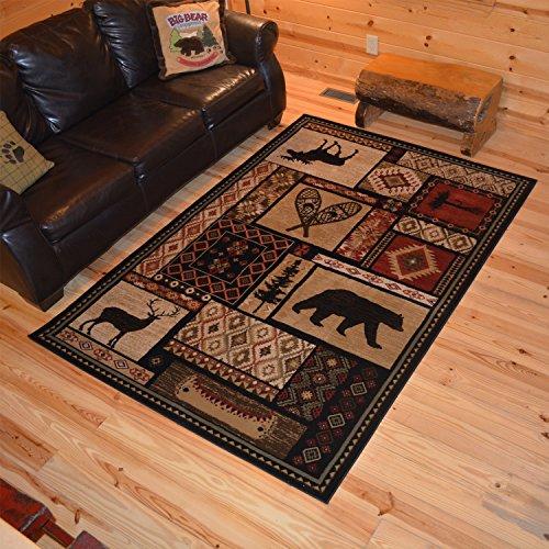 Rustic Lodge Bear Moose Deer 8x10 Area Rug, 7'10