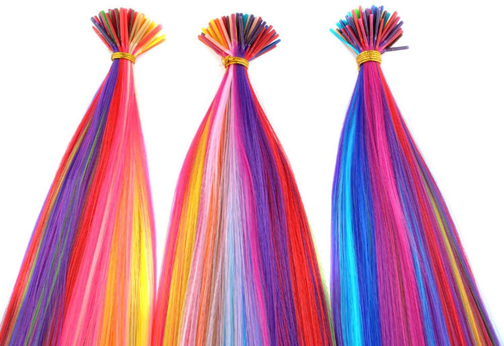 Beautywin 18'' Mixed colors Women Long Cosplay Party Synthetic Fiber Grizzly Feather I Tip Hair Extensions Heat Resistance by Beautywin (Image #1)