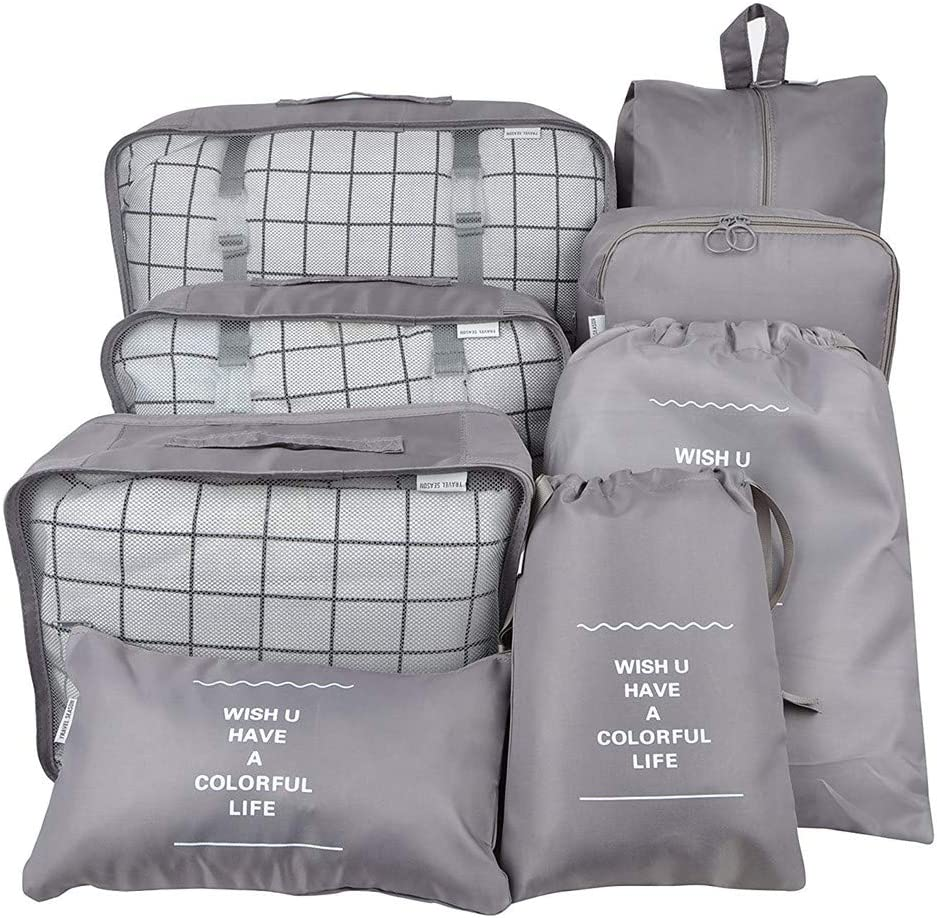 7Pcs Waterproof Travel Storage Bags Clothes Packing Cube Luggage Organizer Pouch (8Grey)