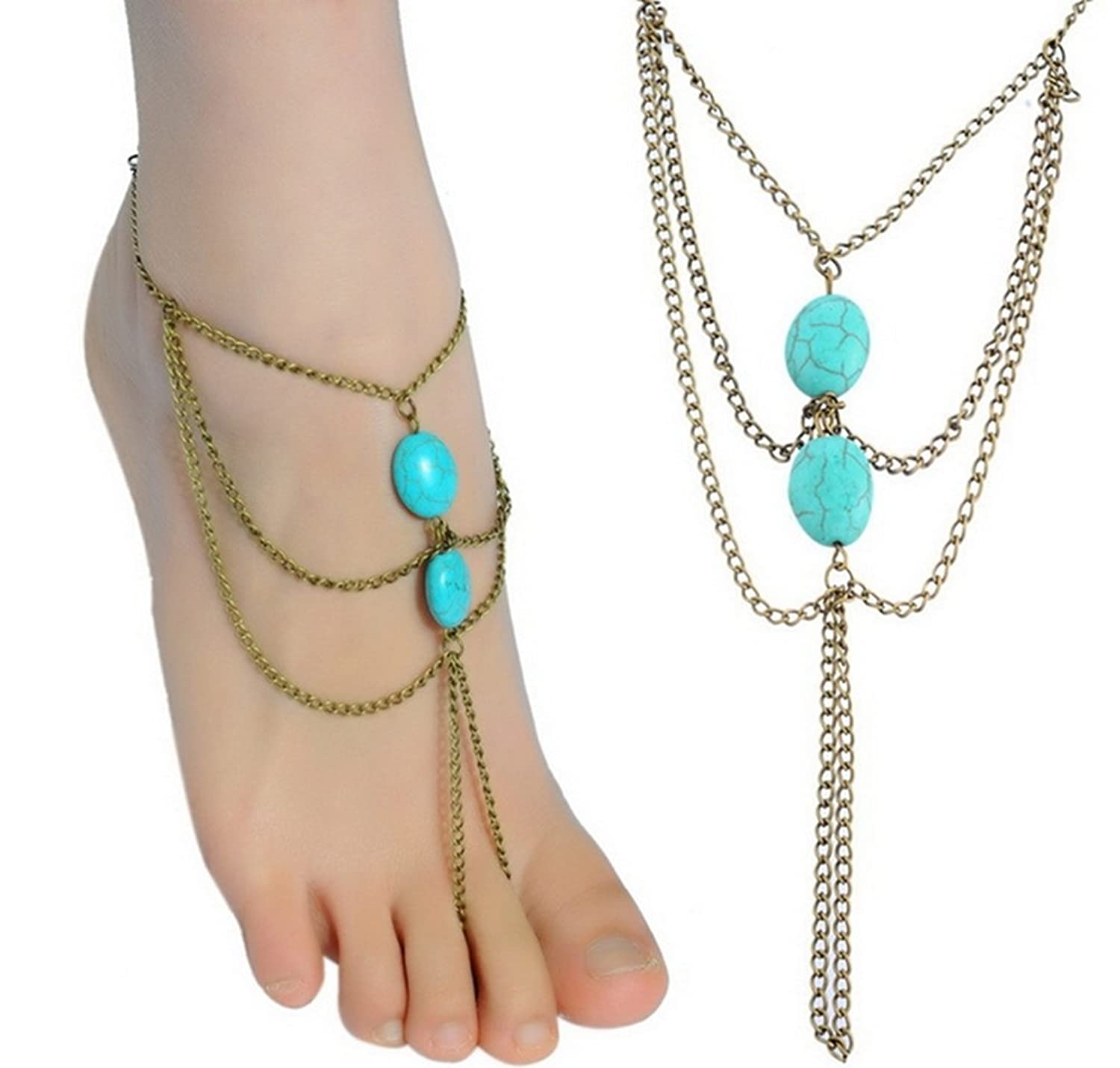 JY Jewelry Bronze Multilayer Chain Tassel Link Toes with turquoise Anklet
