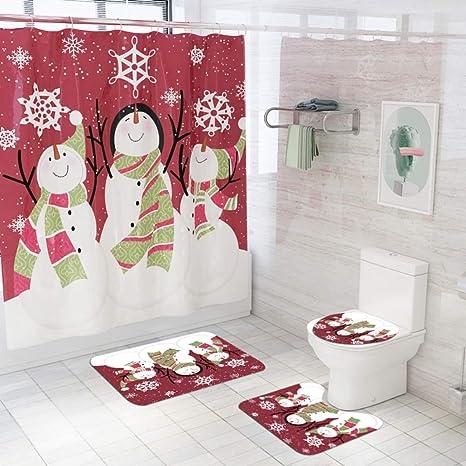 Amazon Com Artifun 4 Pcs Christmas Bathroom Decorations Set Toilet Seat Cover Rug Shower Curtain Sets White Snowman Snow Xmas Tree Bell Bathroom Decor Home Kitchen