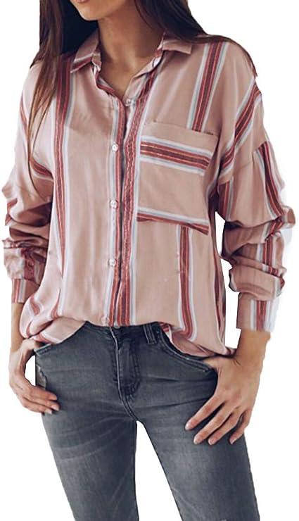 Fuxitoggo Womens Ladies Top Camisa de Rayas Blusa Pull ...