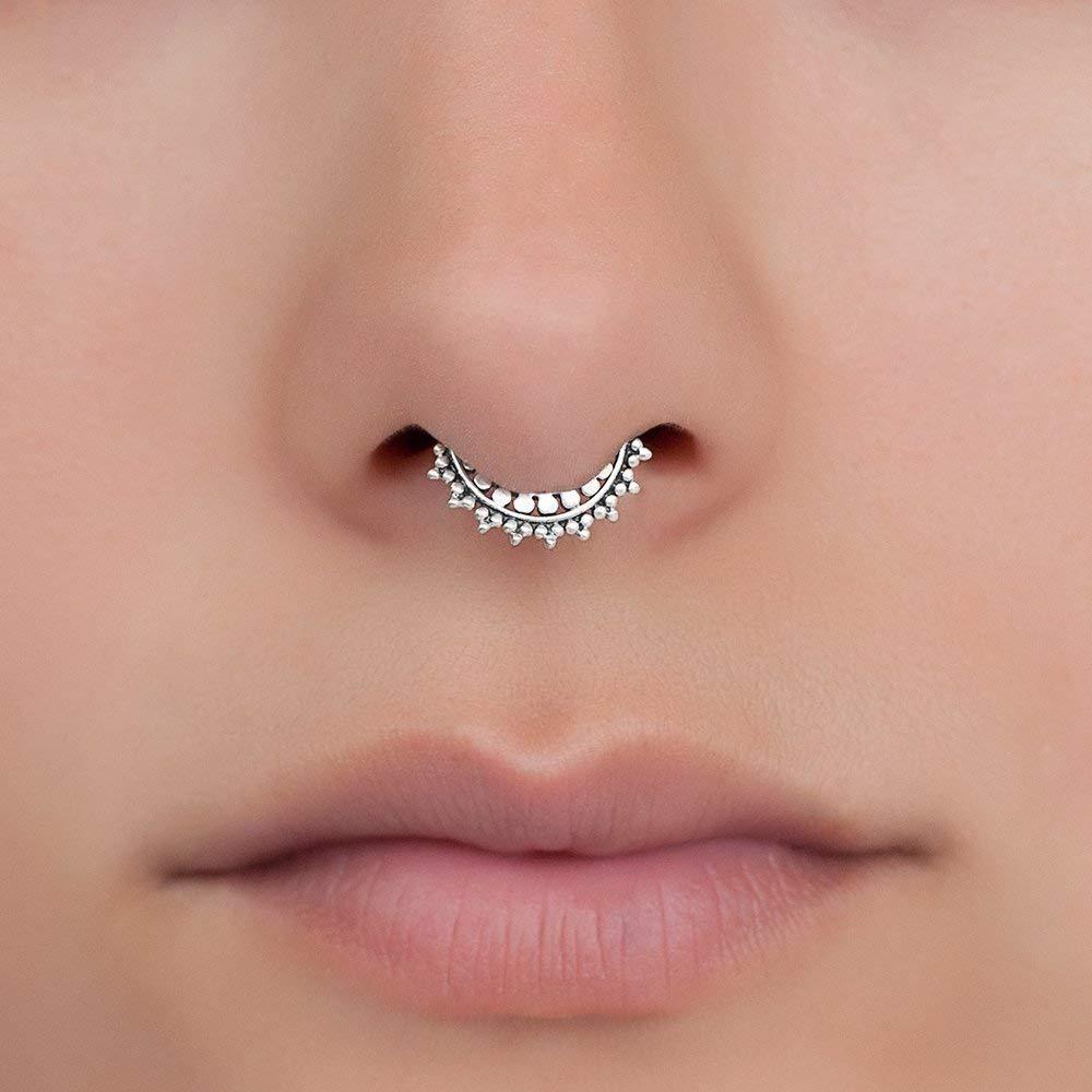 Simple Triple Bead Septum Ring ~ Simple Plain Minimalist ~ Seam Ring Nose Hoop ~ Body Jewelry ~ Nicke-Free Sterling Silver