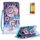 Samsung Galaxy S6 Edge G925 Case Cover [with Free Screen Protector], Funyye Elegant Premium Folio 3D Patterns PU Leather Wallet Magnetic Flip Cover with [Wrist Strap] and [Credit Card Holder Slots] Color Painted Pattern Design Stand Case Cover for Apple Samsung Galaxy S6 Edge G925 - Fancy Dreamcatcher