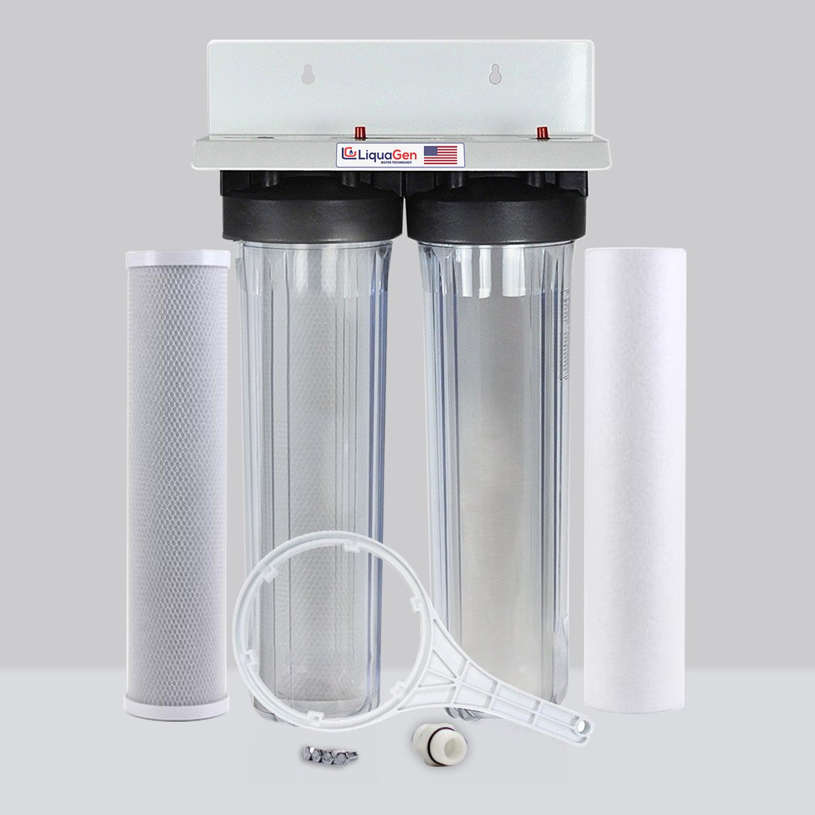 LiquaGen - 2 Stage City & Well Water Whole House Water Filtration System w/20