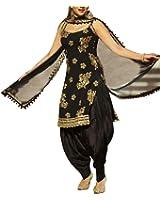 Spangel Fashion Women's Black Unstitched Patiyala Salwar Suits/Patiala Dress Materials