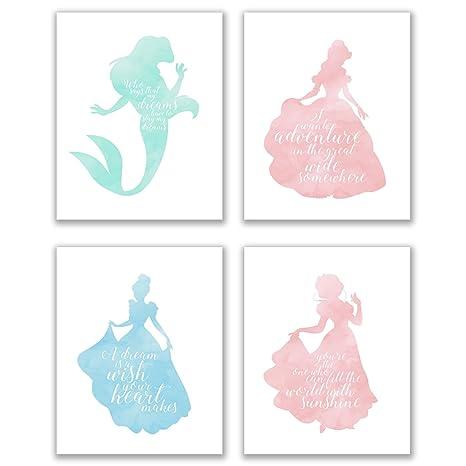 Summit Designs Disney Princess Inspirational Quotes - Set Of 4 (8x10)  Poster Photos - Cinderella Snow White Belle Ariel