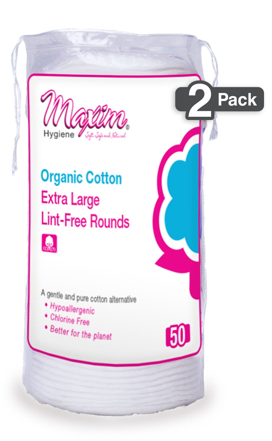 Organic Makeup Remover Pads by Maxim (100 Count): Extra Large 100% Natural White Cotton Rounds - Hypoallergenic for Sensitive Skin - Chlorine Free, Chemical Free