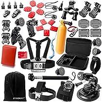Zookki Zubehör für Sports Kameras GoPro Hero 5 4 3+ 3 2 1 +SJ4000 SJ5000 SJ6000, Zubehör Bundle Set für Gopro Session + Xiaomi Yi/ QumoxSJ4000 mit Koffer + Fahrradhalterung in Radfahren Surfen