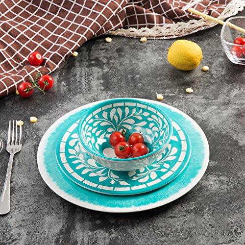 Dinnerware Set for 4 - Melamine 12 Piece Dinner Dishes Set for Camping Use, Lightweight, Dishwasher Safe, Green by Yinshine (Image #6)
