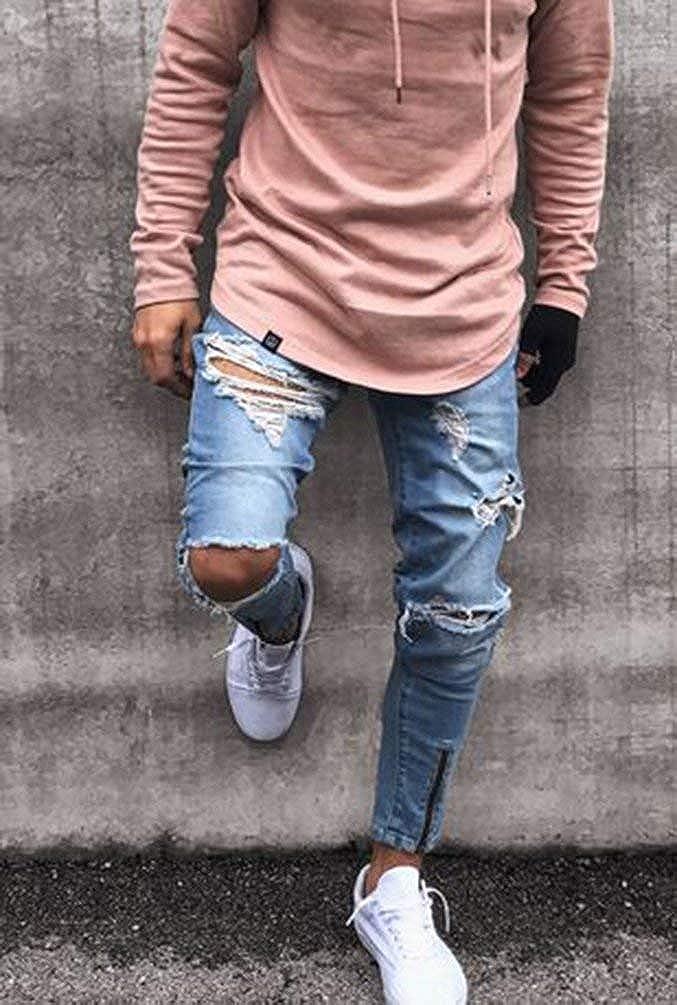 Emmay Usato Look Closure Nessuno Essenziale T Joggers da Uomo Pantaloni Slim Fit Denim Pantaloni Jeans Dritti Jeans Strappati Distrutti