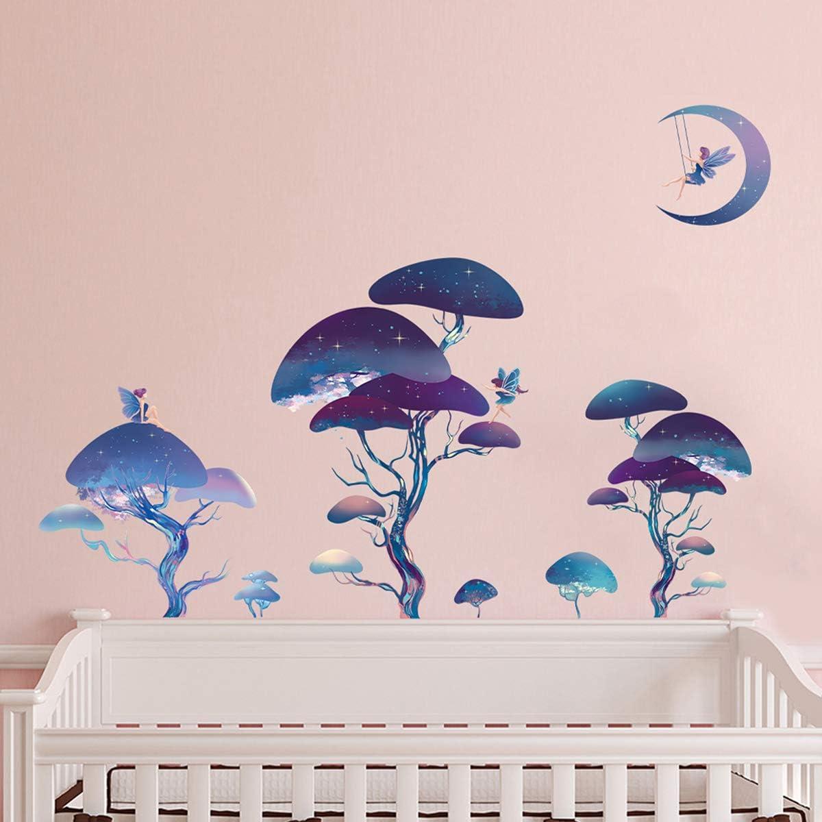 ufengke Dreamlike Forest Fairies Wall Stickers Stars Tree Wall Decals Art Decor for Girls Room Nursery Kids Bedroom