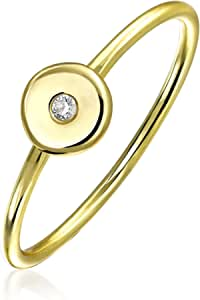 Minimalist CZ Flat Round Disc Circle 14K Gold Plated Sterling Silver Midi Knuckle Stackable Ring 1MM Band For Teen