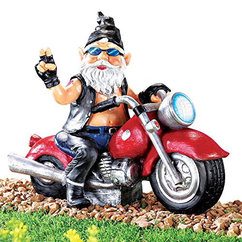 Collections Etc Motion Activated Bad Boy Biker Gnome (Motorcycle Figurine Collection)