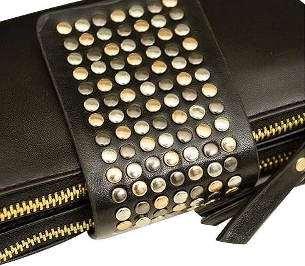Punk Wallets for Women Leopard Print Handbags Womens Wallet Zipper Leather Rivet Evening Bag