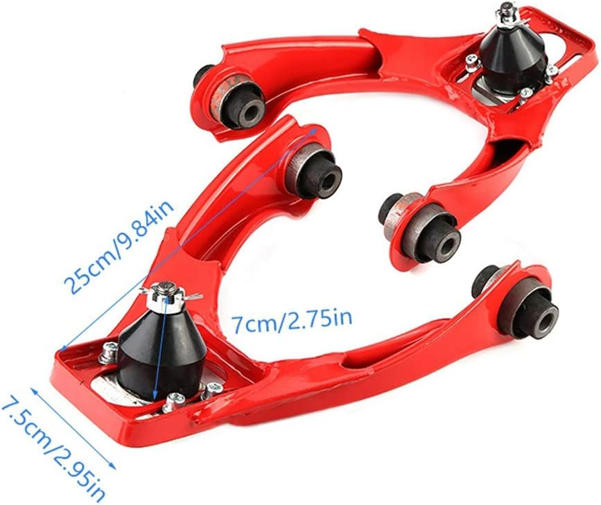 Qiilu For 1996-2000 Honda Civic Performance Alloy Steel Adjustable Front Upper Camber Kit Red