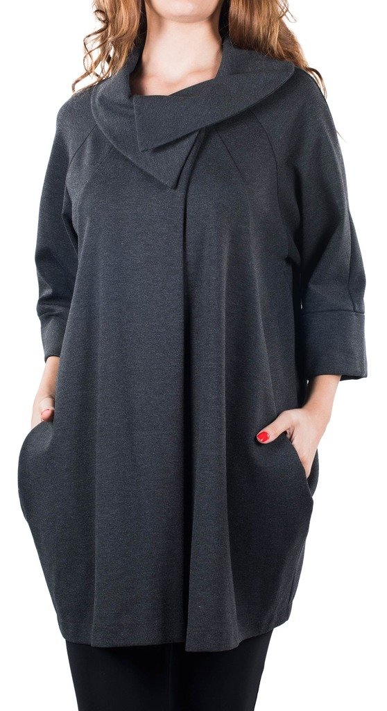 Joseph Ribkoff Charcoal Wrap Design Cowl Neck Coverup Coat Style 153302 - Size 16