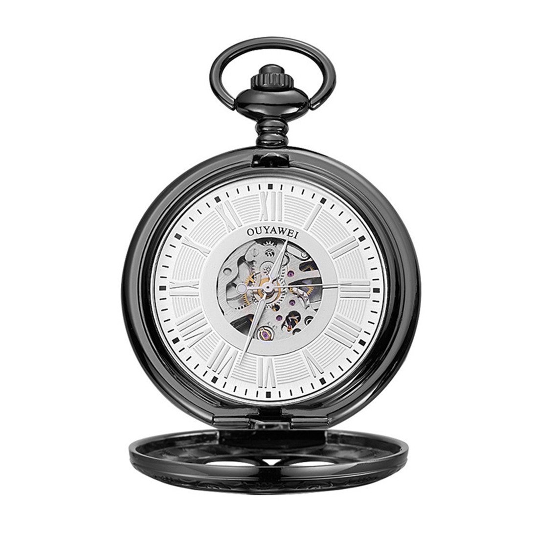 Funique Unisex Roman Numerals Classic Mechanical Pocket Watch with Perspective Bottom Cover(Black 1)